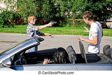 bandido, arma de fuego, amenazador, joven, pareja, coche