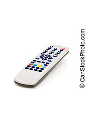 Remote control - Close up of a grey remote control on white...