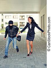 bandido, Robar, mujer de negocios, bolsa, calle