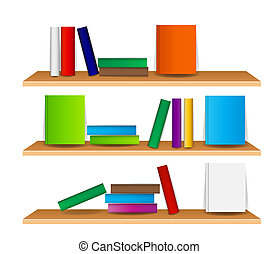 Bookshelf with books vector illustration