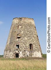 molino de viento, viejo, Ruinas