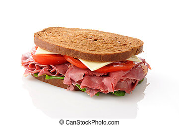 Corned beef sandwich - A corned beef sandwich on a white...