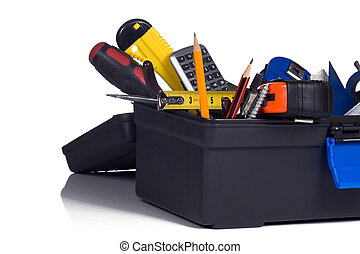 box full of tools - plastic box full of tools