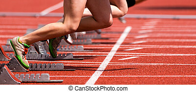 sprint, comienzo, pista, campo