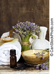 spa - Fresh lavender flowers, zen stones, essential oil,...