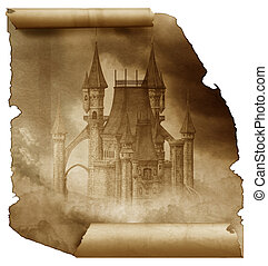 Dark Castle on a old papaer scroll - a dark gothic castle in...