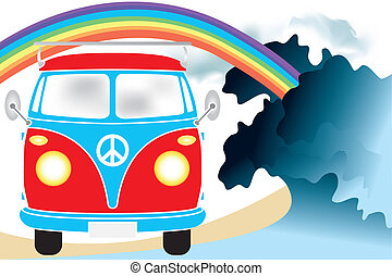 Retro van under the rainbow on the beach - hand drawn...