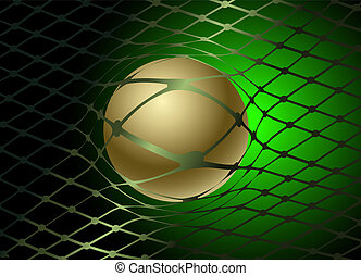 eps10 vector abstract elegant Ball in a grid, in collars, sports, a match, football, volleyball, a griddesign background Green and black, with gold
