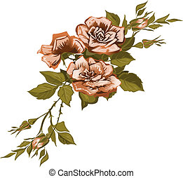The elegant stylized background with a bouquet from three light pink roses