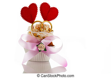 Wedding card with cupcake two heart and two ring on white...