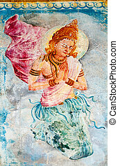 Buddhism angel - deva - Traditional Sri Lanka style art with...