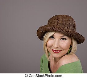 Blonde in Brown Hat Small Smile