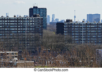 View over suburb with skyline Rotterdam