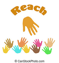 hands reach out - hands assorted color reaching white...