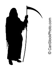 Grim Reaper - Illustrated silhouette of the Grim Reaper on a...