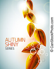 Autumn shiny flying leaves background - Vector nature...