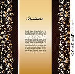 Vintage gold floral background. Vector