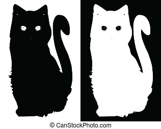 White and black cats. Vector background - White and black...