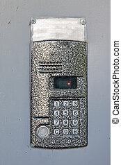 building intercom in door - Close-up of building intercom in...