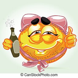 Funny smile with pink lingerie on his head and bottle of...