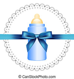 napkin, baby bottle and bow - Vector background with napkin,...