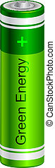 green battery - Vector illustration of green battery