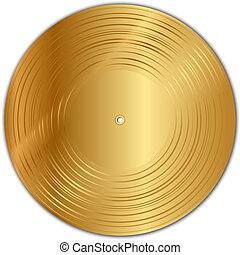 golden vinyl record - Vector illustration of golden vinyl...