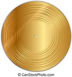 golden vinyl record - Vector illustration of golden vinyl...
