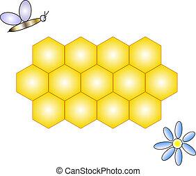 honeycomb, bee & flower