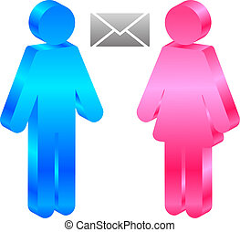 man, woman and envelope - Vector icon of man, woman and...