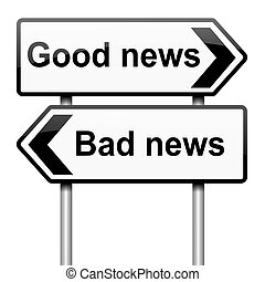 Good or bad news - Illustration depicting roadsigns with a...