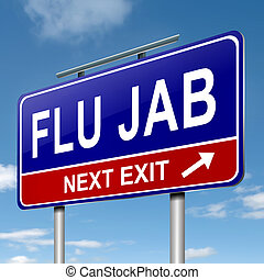 Flu alert concept - Illustration depicting a roadsign with a...