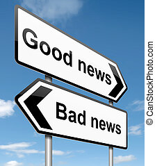 Good or bad news. - Illustration depicting roadsigns with a...