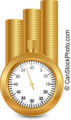 Time is money - vector illustration of stopwatch and gold...
