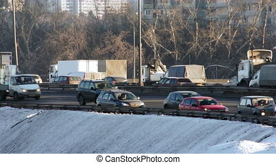 Traffic in rush hour - Moscow winter highway with rush hour...