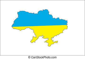 map of Ukraine with countries borders - blue yelow map of...