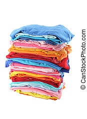 Pile of multiple color cloths on white background.
