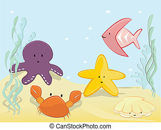 Underwater scenne - Underwater cute background