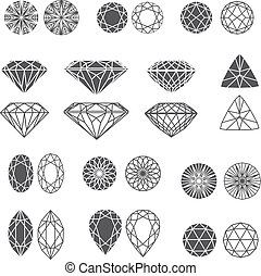 Vector set of diamond design elements - cutting samples