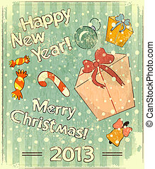 Christmas retro postcard with toys and gift Box in vintage...
