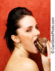 Gluttony - The Seven Deadly Sins - Woman eating cake,...