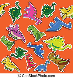 Funny dino seamless pattern with red background