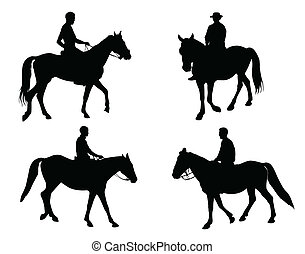 horsemen silhouettes collection - vector