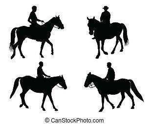 horsemen silhouettes collection - vector