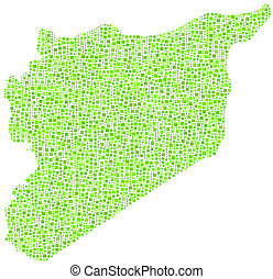 Map of Syria - middle east - in a mosaic of green squares