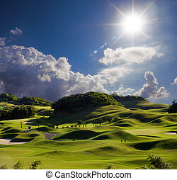 Golf place with wonderful green for adv or others purpose...