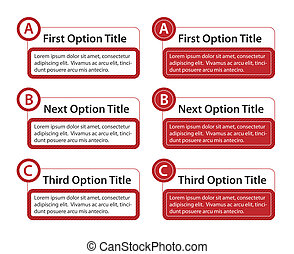 ABC Option Boxes with Version Descriptions - Boxes with ABC...