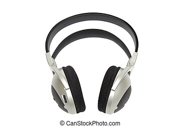 Headphones - Grey and black earphones on a white background