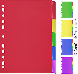 Colorful Folders with Bookmarks - Set of paper folder in 5...