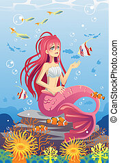 Mermaid in ocean - A vector illustration of a mermaid in the...